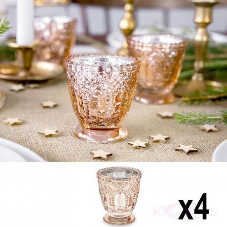 4 Bougeoirs Rose Gold en verre