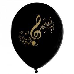 8 Ballons gonflables musique Noir et Or