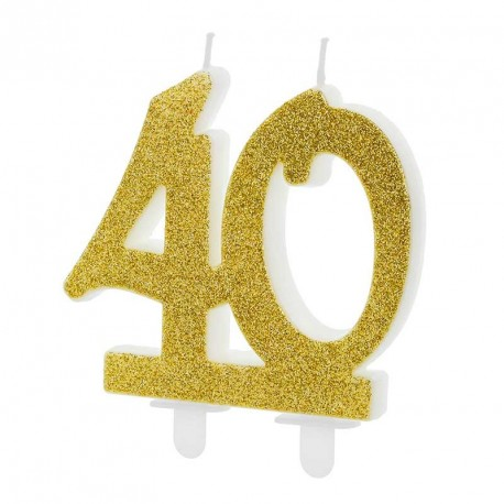 Bougie anniversaire 40 ans Or