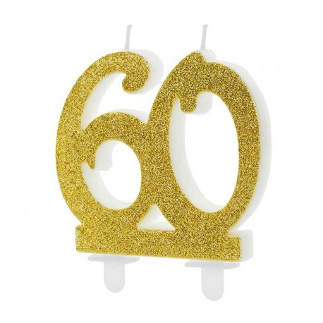 Bougie anniversaire 60 ans Or