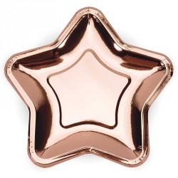 Décorez vos tables d'anniversaire ou de mariage avec ces 6 assiettes rose Golde en forme d'étoile