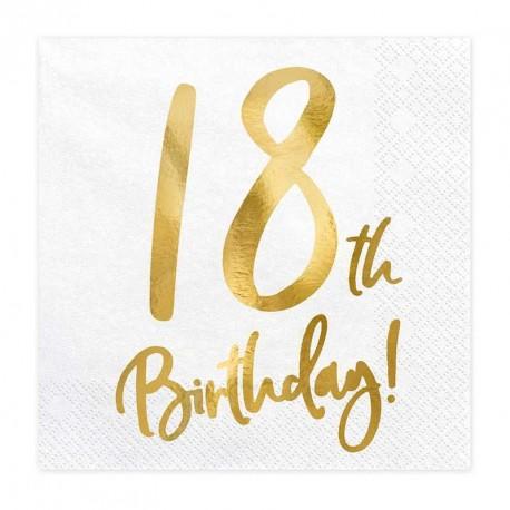"""Serviettes Or Anniversaire 18 ans """"18th Birthday"""""""