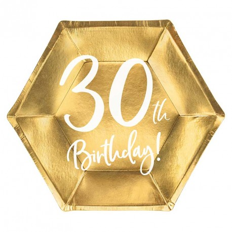 """6 Assiettes Or Anniversaire 30 ans """"30th Birthday"""""""