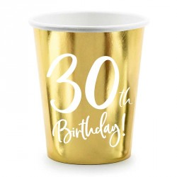 Gobelets 30 ans anniversaire Or et blanc