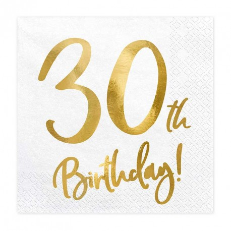 """Serviettes Or Anniversaire 30 ans """"30th Birthday"""""""