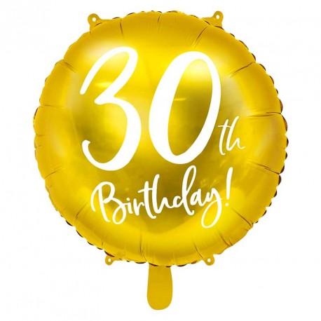 "Ballon rond Anniversaire ""30th Birthday"" 45cm"