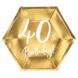 """6 Assiettes Or Anniversaire 40 ans """"40th Birthday"""""""