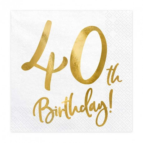 """Serviettes Or Anniversaire 40 ans """"40th Birthday"""""""