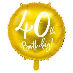 "Ballon rond Anniversaire ""40th Birthday"" 45cm"