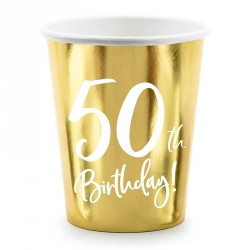 Gobelets 50 ans anniversaire Or et blanc