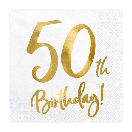 """Serviettes Or Anniversaire 50 ans """"50th Birthday"""""""