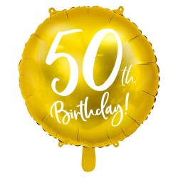 "Ballon rond Anniversaire ""50th Birthday"" 45cm"