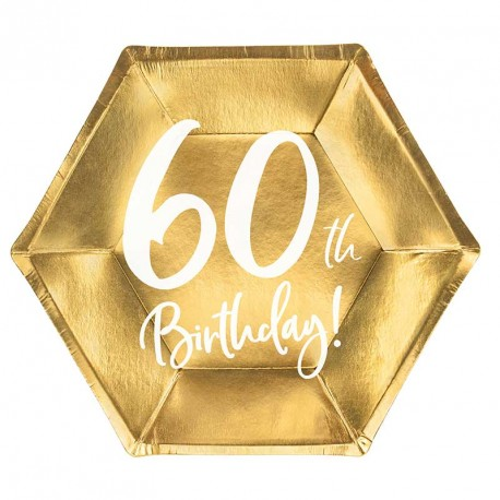 """6 Assiettes Or Anniversaire 60 ans """"60th Birthday"""""""