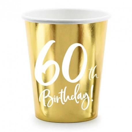 Gobelets 60 ans anniversaire Or et blanc