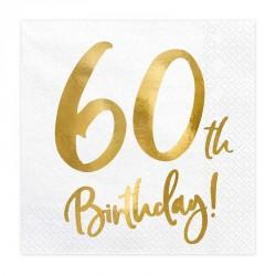 """Serviettes Or Anniversaire 60 ans """"60th Birthday"""""""