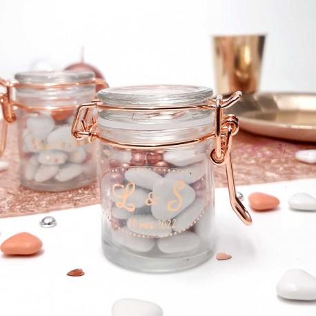 Petit pot a dragées en verre rose gold pas cher que vous pourrez personnaliser
