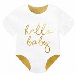 20 serviettes Baby shower hello Baby