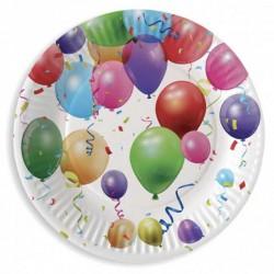 6 Assiettes anniversaire Ballons