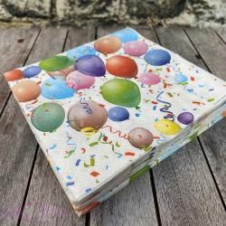 20 Serviettes anniversaire Ballons
