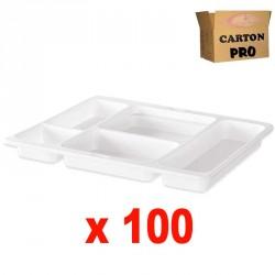 100 PLATEAUX REPAS 5 COMPARTIMENTS GM
