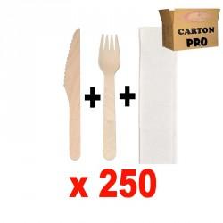 KIT 250 COUTEAUX BOIS + FOUCHETTES + SERVIETTES 2 PLIS
