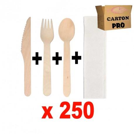 KIT 250 COUTEAUX BOIS + FOUCHETTES + CUILLERES + SERVIETTE 2 PLIS