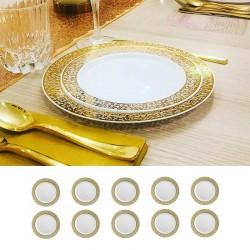 10 petites assiettes Or rigides réutilisables 19cm