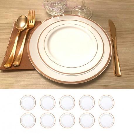 10 petites assiettes liseré Rose Gold