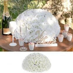 Bouquet de fleurs centre de table blanc 30 cm