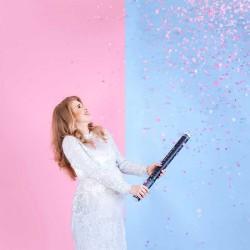Canon à confettis Baby shower rose