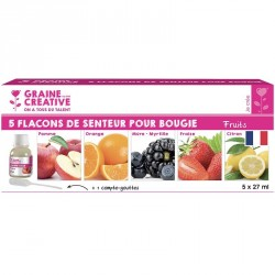Lot 5 flacons 27 ml senteurs fruits pour bougie + compte gouttes
