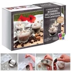 Kit bougies décoratives pause gourmande dans une tasse de chocolat