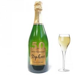 Servez le champagne pour votre 50 eme anniversaire dans une bouteille à votre nom