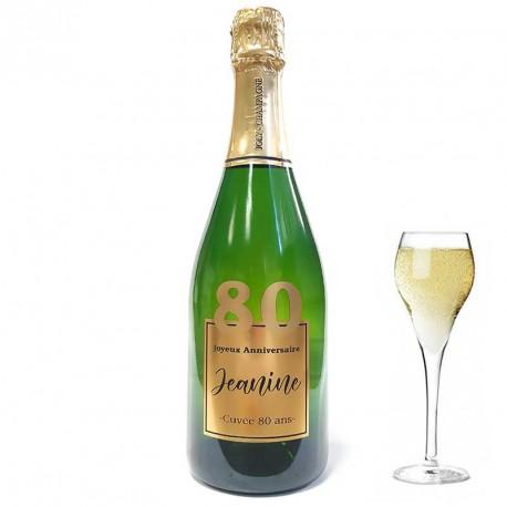 Servez le champagne pour votre 80 eme anniversaire dans une bouteille à votre nom