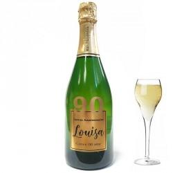 Servez le champagne pour votre 90 eme anniversaire dans une bouteille à votre nom