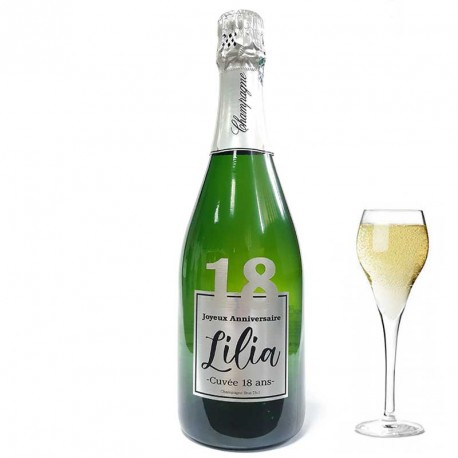 Champagne Anniversaire 18 ans Argent