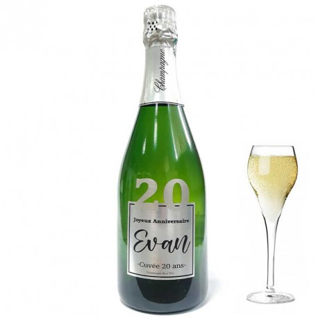 Personnalisez une bouteille de champagne pour ces 20 ans, facile chez Dragées Anahita