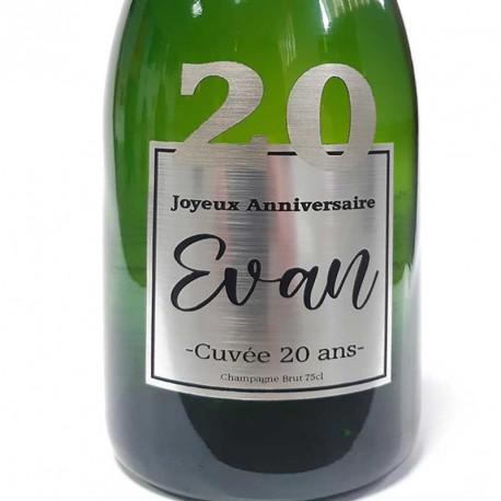 Champagne Anniversaire 20 ans Argent