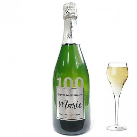 Personnalisez une bouteille de champagne pour ces 100 ans, facile chez Dragées Anahita