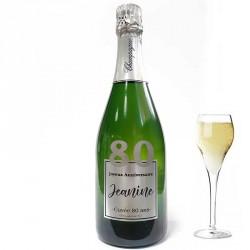 Personnalisez une bouteille de champagne pour ces 80 ans, facile chez Dragées Anahita