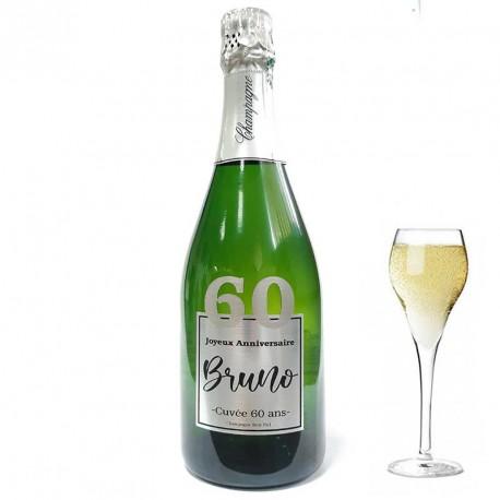 Personnalisez une bouteille de champagne pour ces 60 ans, facile chez Dragées Anahita