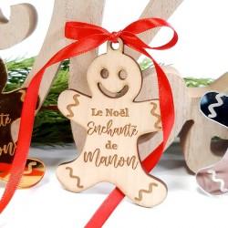Bonhomme pain d'épice à suspendre personnalisé pour Noël en bois
