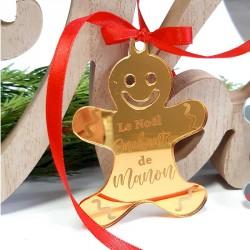 Gingerman personnalisé pour Noël miroir Or