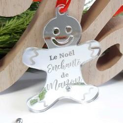 Bonhomme pain d'épice personnalisé pour Noël miroir Argent