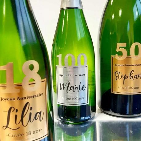 Etiquettes de bouteille de Champagne pour anniversaire