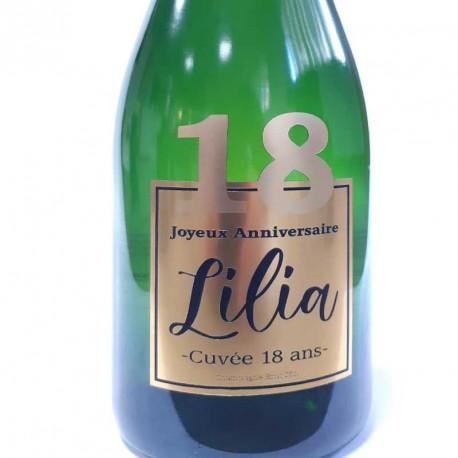 Exemple d'étiquettes de bouteille de Champagne pour anniversaire 18 ans