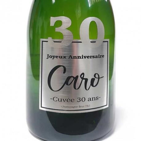 Exemple d'étiquettes de bouteille de Champagne pour anniversaire 30 ans
