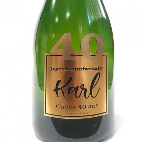 Exemple d'étiquettes de bouteille de Champagne pour anniversaire 40 ans
