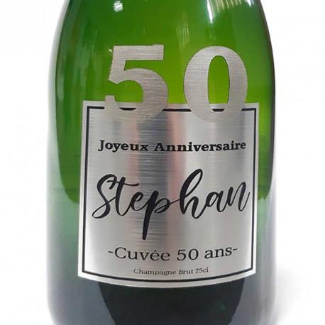Exemple d'étiquettes de bouteille de Champagne pour anniversaire 50 ans