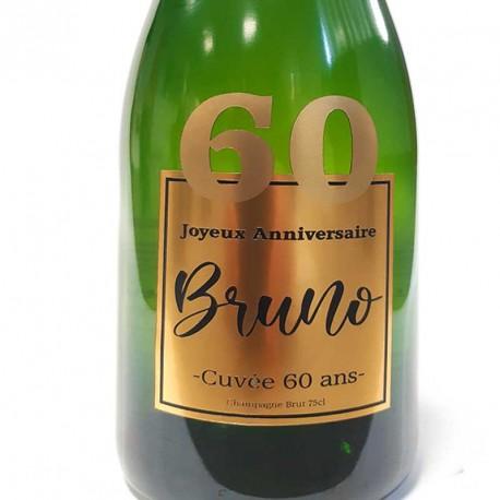 Exemple d'étiquettes de bouteille de Champagne pour anniversaire 60 ans